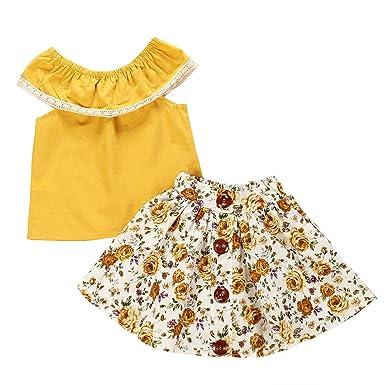 Borlai Trajes de Moda para Niñas Traje Camisa Amarilla + Falda ...