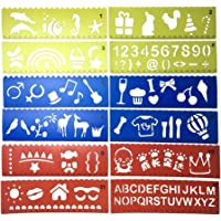 Healifty 12Pcs Hollow Drawing Ruler Stencils DIY Painting Templates for Diary Notebook Scrapbook Album