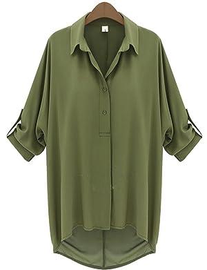 Yanekop Womens Plus Size Chiffon Blouse Loose V Neck Short Cuffed Sleeve Top(Army Green M)