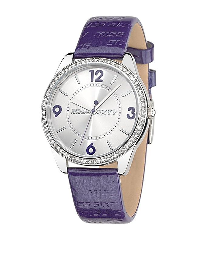 Miss Sixty R0751116504 - Reloj para mujer de piel sintética plateado: Amazon.es: Relojes