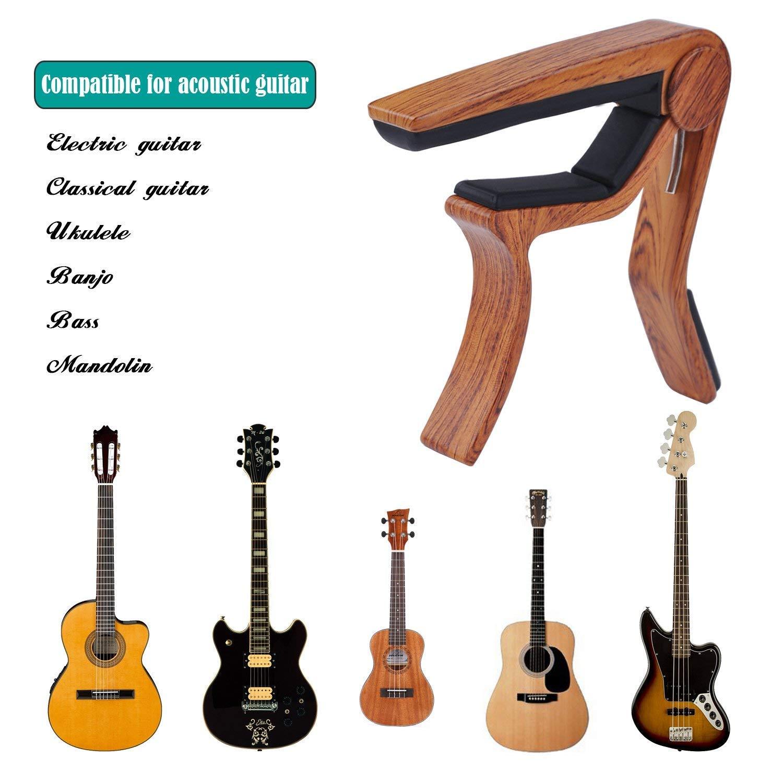 Morcoo Libershine - Cejilla de guitarra acústica y eléctrica de 6 cuerdas, de madera, diseño humanizado, apto para las manos, también se utiliza para ...