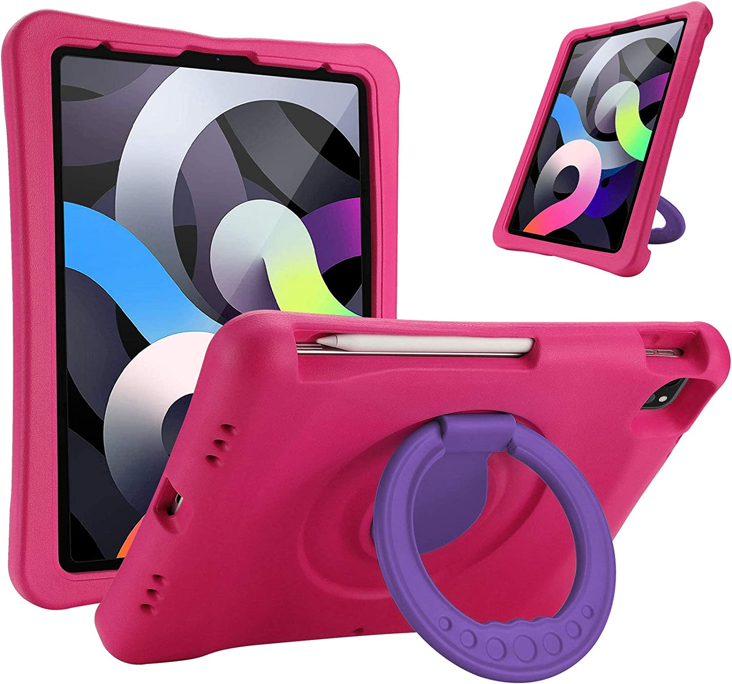 """ProCase Kids Case for iPad Air 4 10.9"""" 2020 / iPad Pro 11 2020 & 2018, Shockproof Rotate Handle Folding Stand Cover Light Weight Kids Friendly Case for iPad Air 10.9'' (4th Gen) / iPad Pro 11 –Magenta"""