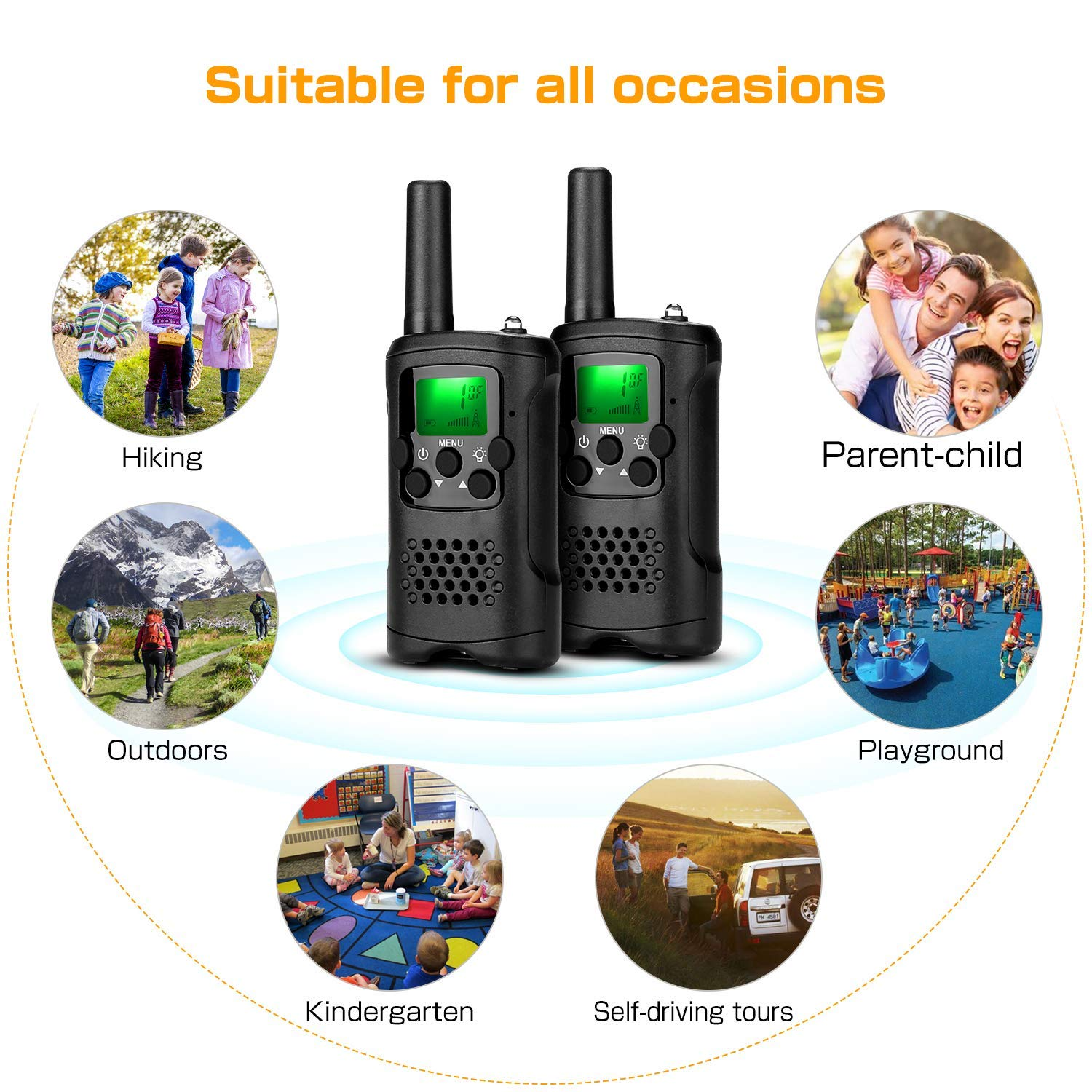 Walkie Talkies for Kids 22 Channels Long Range Rechargeable Walkie Talkies with Battery and Charger by VERDUO (Image #1)