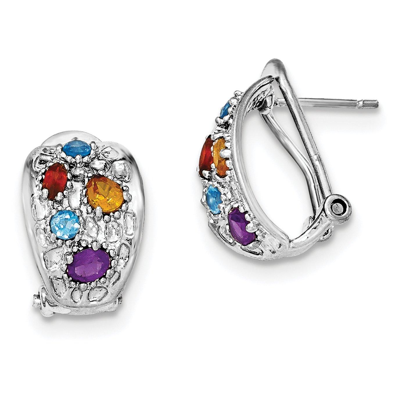 ICE CARATS 925 Sterling Silver Amethyst/blue Topaz/garnet/citrine Omega Back Leverback Ball Button Stud Earrings Lever Fine Jewelry Gift Set For Women Heart