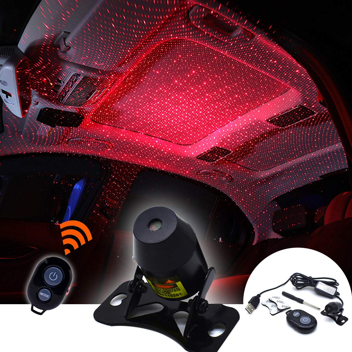 Red-Starry Sky Car Roof Full Star Projection Laser Romantic Auto Roof Star led,Night Lamp Fit All Cars Multiple Modes-No Need to Install Car Interior Atmosphere Lights LED Fecorative Armrest Box