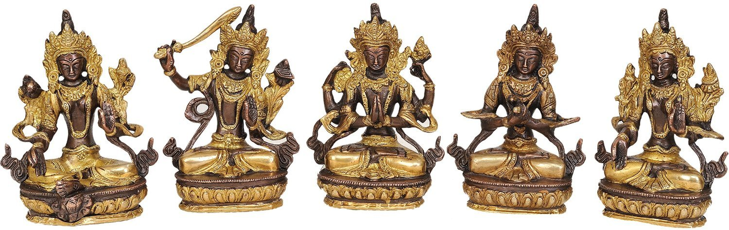 Aone India Green Tara, Manjushri, Chenrezig, Vajradhara and White Tara (Set of 5 Sculptures) - Brass Statue + Cash Envelope (Pack Of 10)
