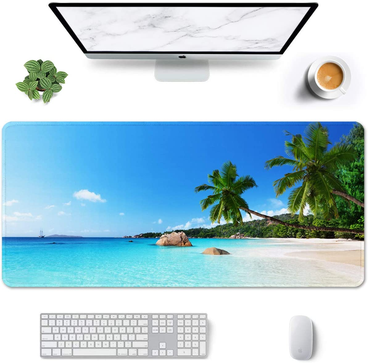 """Auhoahsil Large Mouse Pad, Full Desk XXL Extended Gaming Mouse Pad 35"""" X 15"""", Waterproof Desk Mat with Stitched Edges, Non-Slip Laptop Computer Keyboard Mousepad for Office and Home, Beach Design"""