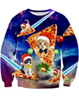 RAISEVERN Unisex Funny Print Ugly Christmas Sweater Crewneck Sweatshirt Various Design