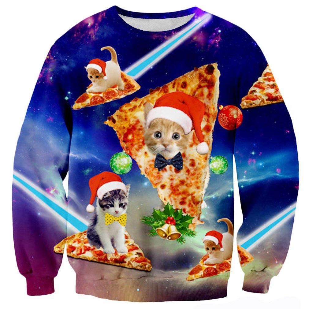 Raisevern Cute Funny Pizza Cat Santa Hat Graphic Pullover Sweater Sweatshirt Jumper, Pizza Cat 1, XX - Large by RAISEVERN