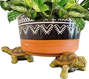 Lily's Home Set of 3 Poly Resin Pot Feet or Planter Risers for Indoor Outdoor Large Plant Pots or Statuary Improve Airflow and Drainage Perfect for Patios, Decks, Gardens and Greenhouses (Turtle)