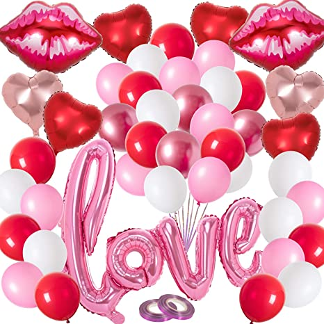 Heart Shaped Party Balloons Wedding Balloons Bridal Shower Balloons Valentines Day Love Balloons set of 12