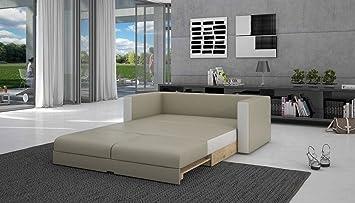 Salesfever Schlaf Sofa Mit Kunstleder In Creme Weiss 140x200 Cm