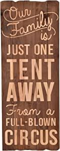 NIKKY HOME Our Family is Just One Tent Away from A Full Blown Circus Wooden Wall Decorative Sign 12.48 x 1.18 x 32.48 Inches