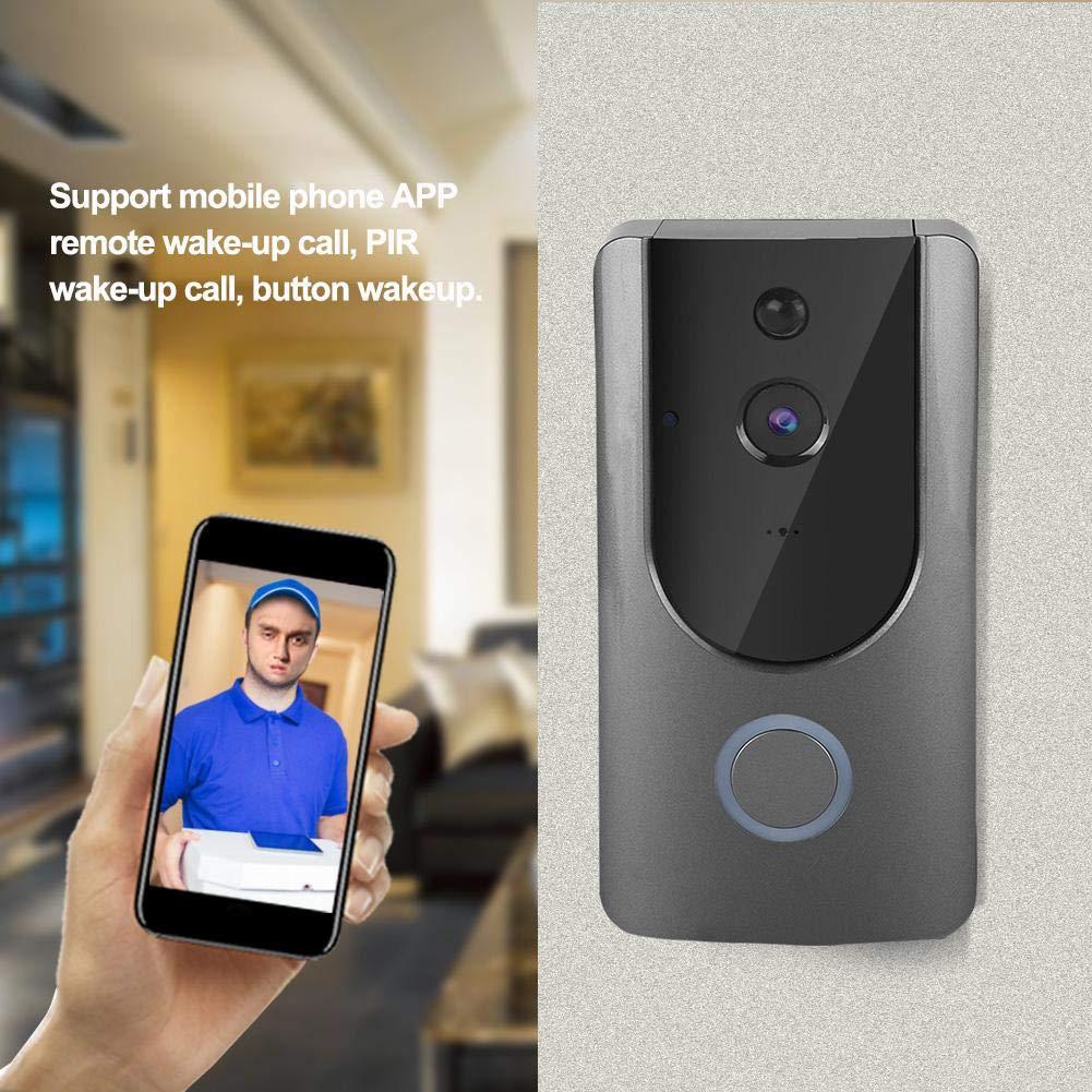IR Night Vision Camera Video Door Phone Intercom wtih Chime Grey Video Doorbell 720P Wireless WiFi Doorbell