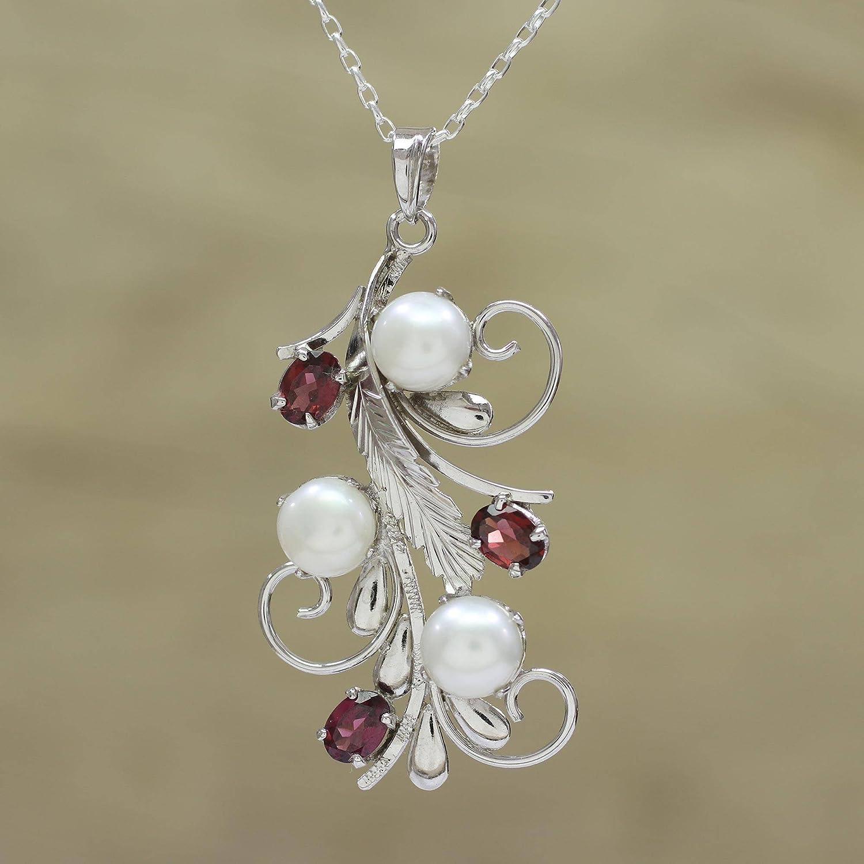 NOVICA Garnet Cream Cultured Freshwater Pearl .925 Rhodium Plated Silver Necklace 18 Royal Vine