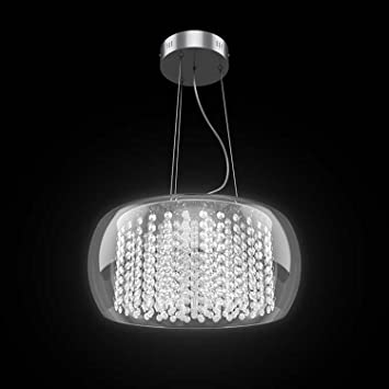 Pendant light chrome finish artika virtuose dimmable led pendant light with crystals and shimmer effect