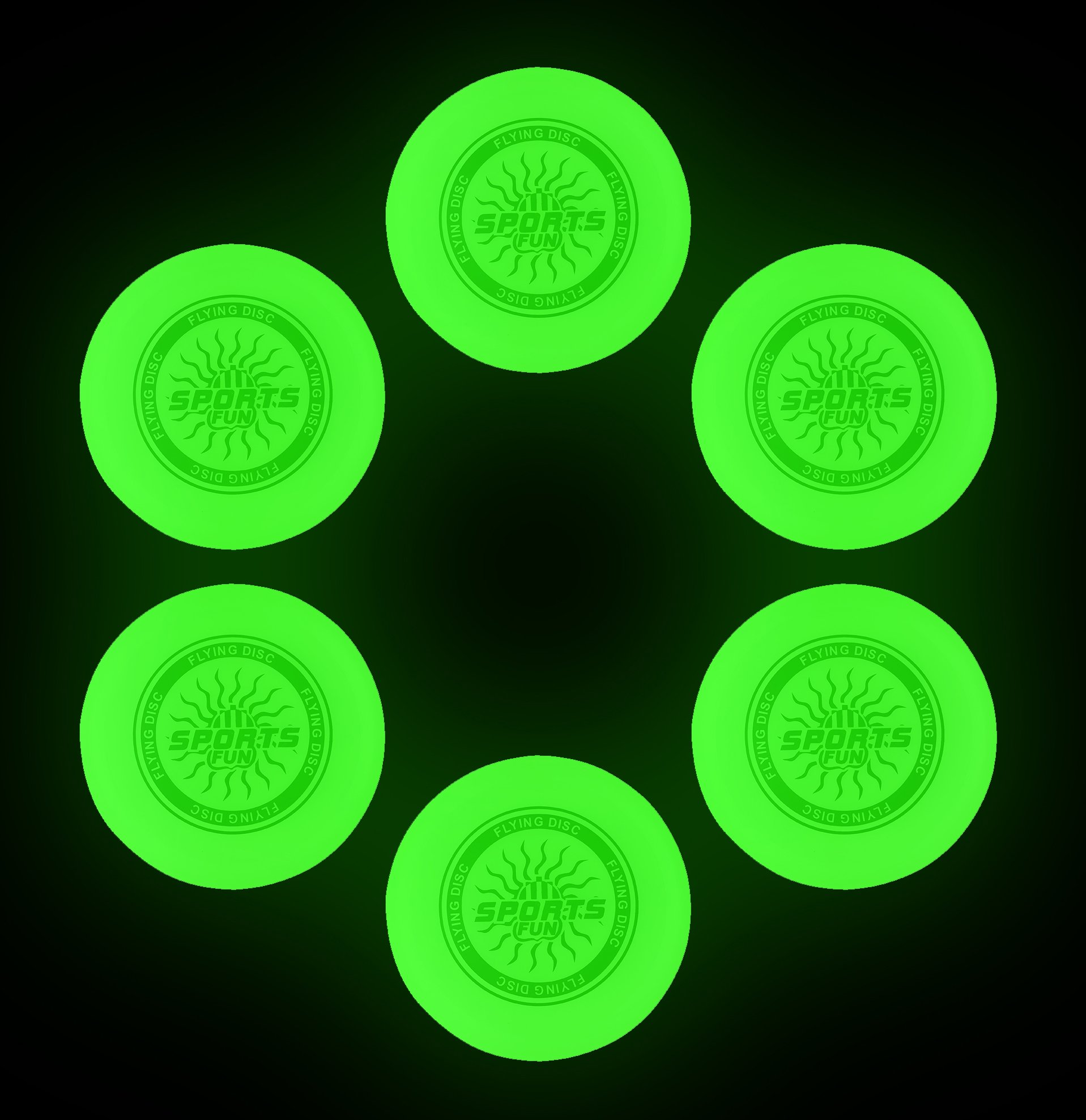 9'' Light Up Plastic Flying Sports Discs, Glow in the Dark for Night Games (Set of 6) by Liberty Imports