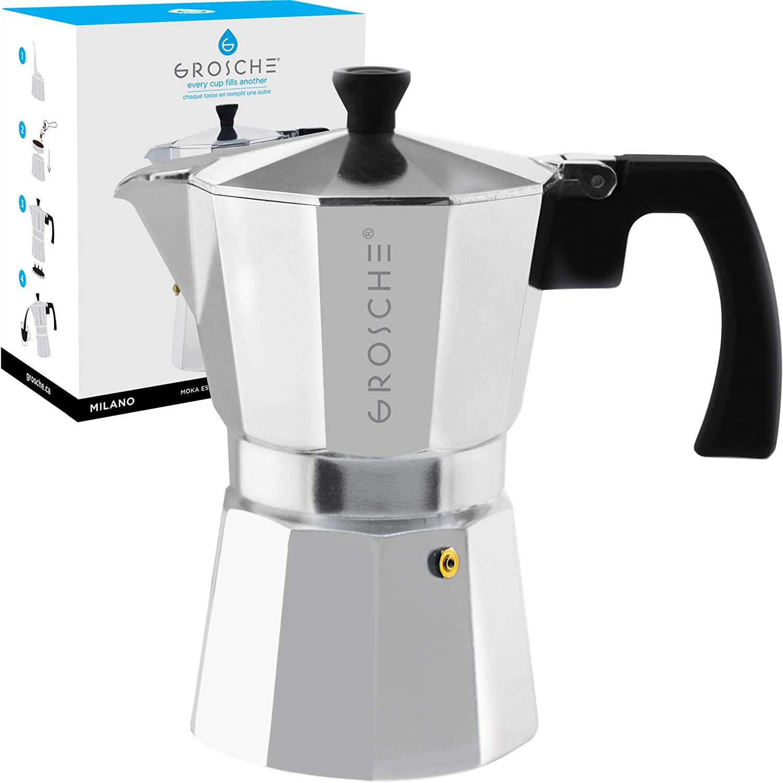 GROSCHE Milano Stovetop Espresso Maker Moka Pot 6 Cup - 9.3 oz, Silver - Cuban Coffee Maker Stove top coffee maker Moka Italian espresso greca coffee maker brewer percolator