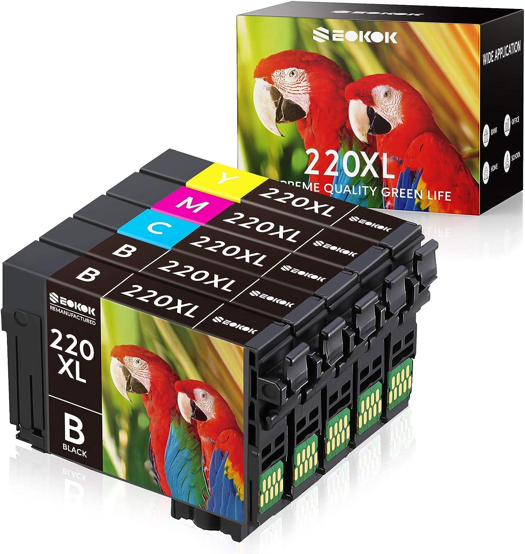 SEOKOK Remanufactured Ink Cartridge Replacement for Epson 220 XL 220XL T220XL, Used for WF-2760 WF-2750 WF-2630 WF-2650 WF-2660 XP-320 XP-420 XP-424 Printer,5Pack(2 Black, 1 Cyan, 1 Yellow, 1 Magenta)