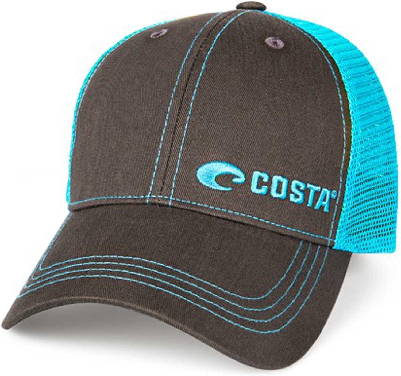 COSTA DEL MAR NEON TRUCKER TWILL HAT GRAPHIT//NEON BLUE BRAND NEW 2017