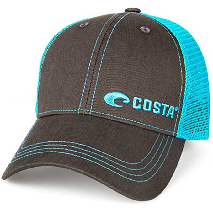 wholesale dealer afeb1 772a0 Costa Del Mar Neon Trucker Offset Logo Hat - Graphite Neon Blue - One Size