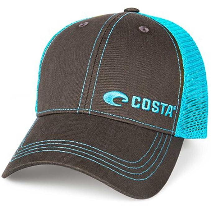 6731a407b6 Costa Del Mar Neon Trucker Offset Logo Hat - Graphite Neon Blue - One Size