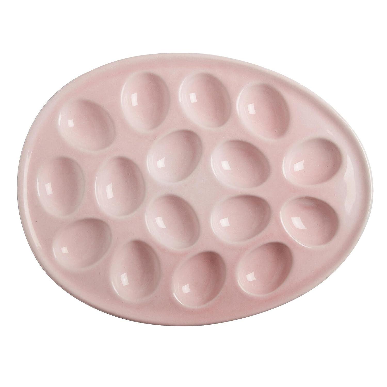 Secret Garden Pink Ceramic Oval Egg Platter Deviled Eggs Serving Platter Holds 16 Eggs