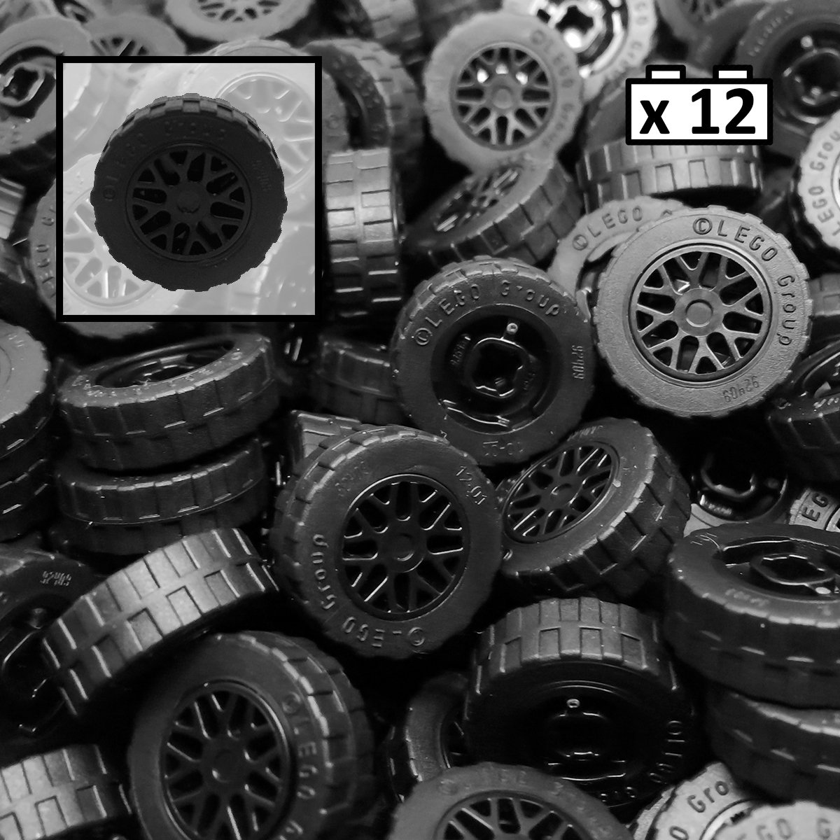 Tires ~ 4 Car//Truck Tires ~ Light Gray Spoked Rims ~ Technics ~ NEW ~ Lego