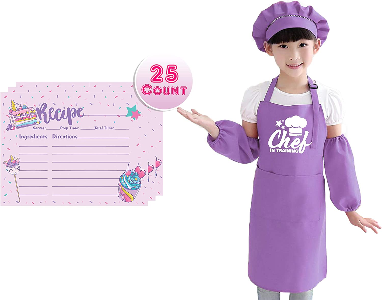 Sister Novelties Children's Chef in Training Apron Sets, Adjustable Apron with Matching Hat and Sleeves for Boys and Girls (Purple + Recipe Cards)