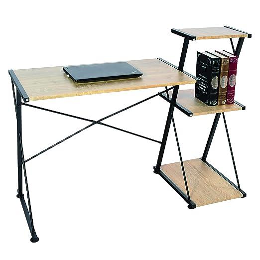 WOLTU Mesa de Oficina Escritorio 3 Estantes Madera 118x50x86cm ...