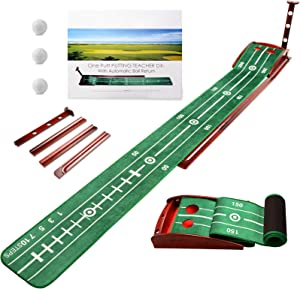 ICECORAL Wood Golf Putting Green Mat with Auto Ball Return System, Mini Golf Game Practice Equipment and Golf Gifts for Men Women Home Office Backyard Indoor Outdoor Use
