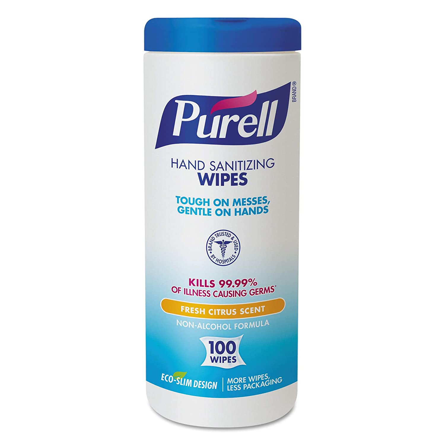 PURELL Hand Sanitizing Wipes, Fresh Citrus Scent, 100 Count Non-Linting Wipes Eco Slim Wipes Canisters (Case of 12) - 9111-12