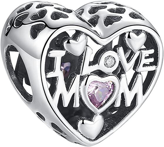 gold gift box New 925 Silver Sterling I love you  mom mum heart European Charm