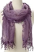 Women's lightweight Feminine lace teardrop fringe Lace Scarf Vintage Scarf Mesh Crochet Tassel Cotton Scarf for Women