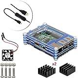 4 en 1 Kit Professionnel Pour Raspberry Pi 3 & 2 B B+, Tranchés 9 Couches Cas Box + Ventilateur + Micro Câble usb à tour / l'interrupteur, ailette de refroidissement [Raspberry Pi est pas inclus] (Bleu)