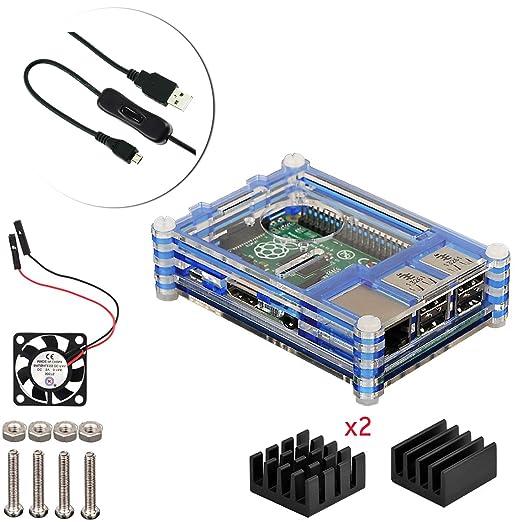 12 opinioni per 4 in 1 Kit Per Raspberry Pi 3 Case ventola alluminio dissipatore di calore