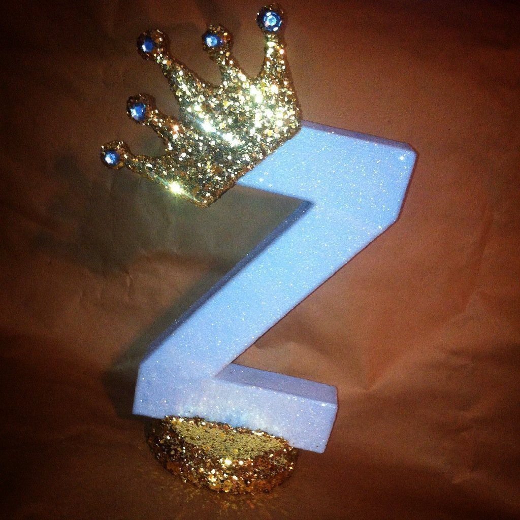 Glitter crown centerpieces Royal themed centerpieces for baby shower centerpieces Prince theme or Princess theme 10 sparkling letters or numbers!