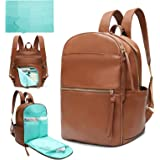Diaper Bag Backpack Mominside Leather Baby Bag with 6 Insulated Pockets for Mom Dad, Baby Registry Search, Changing Station,