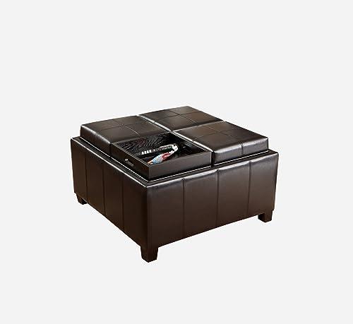 Best Selling Mason Leather Espresso Tray Top Storage Ottoman