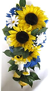 Wedding Bouquets Bridal Silk Flowers SUNFLOWER ROYAL Cascade Rustic 17 Piece Package Bouquet Centerpiece Flower