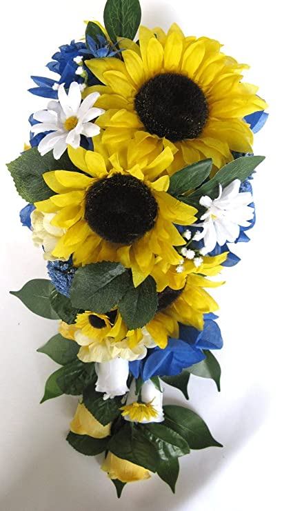Cascading Sunflower Wedding Bouquet