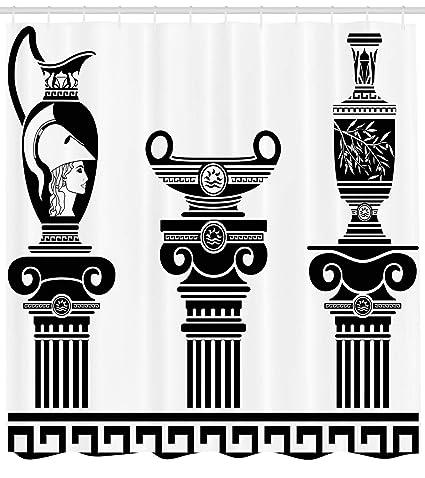 e8641da63e17 Amazon.com: Ambesonne Toga Party Shower Curtain, Hellenic Vases and ...