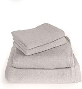 Cotton Rich T-Shirt Soft Heather Jersey Knit Sheet Set - All Season Bed Sheets,, Warm and Cozy by Morgan Home (Twin, Heather Grey)