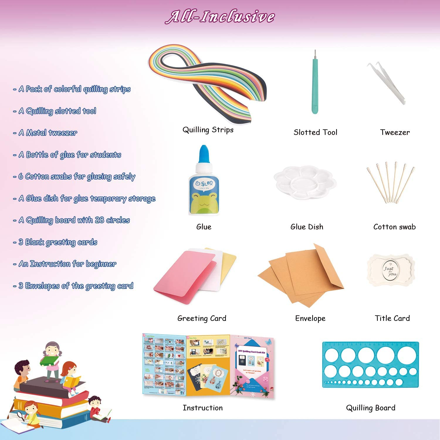 DIY Greeting Card Making Kit for Kids Boys Girls and Adults Fun Quilling Craft Kit for Beginners
