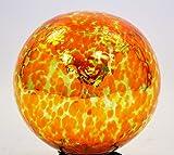 10 Inch Glass Garden Gazing Ball, Orange Lime spots color