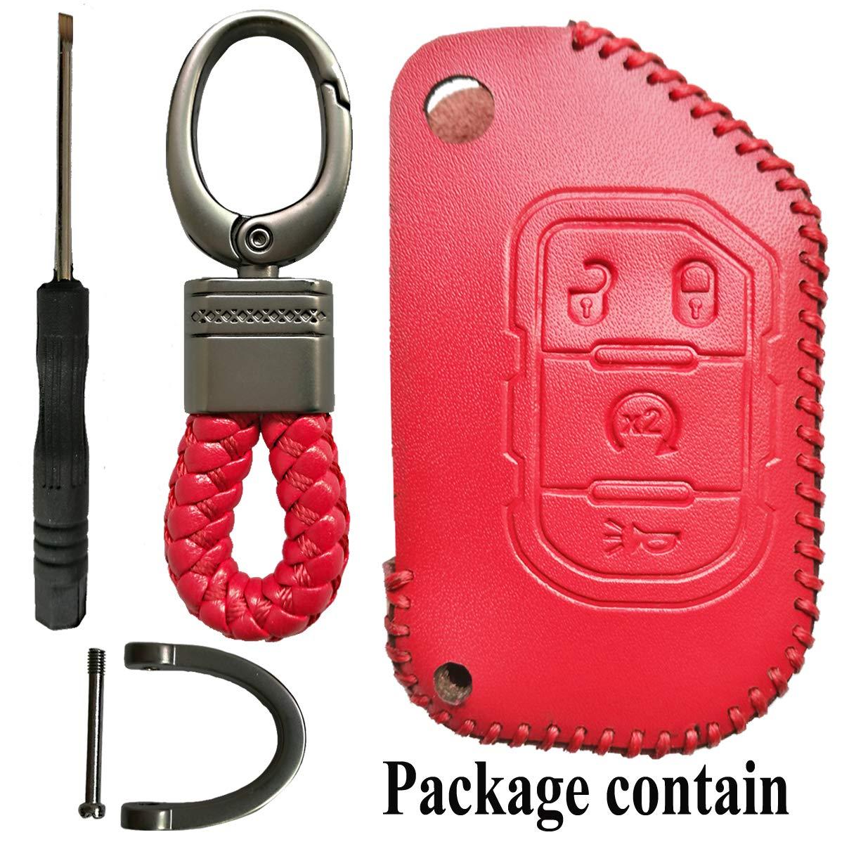 Alegender Pink 4Buttons Flip Key Cover Case Fob Leather Skin Bag Remote Jacket Protector Fit for 2018 2019 2020 Jeep Wrangler JL JLU Rubicon Gladiator JT 68292944AA