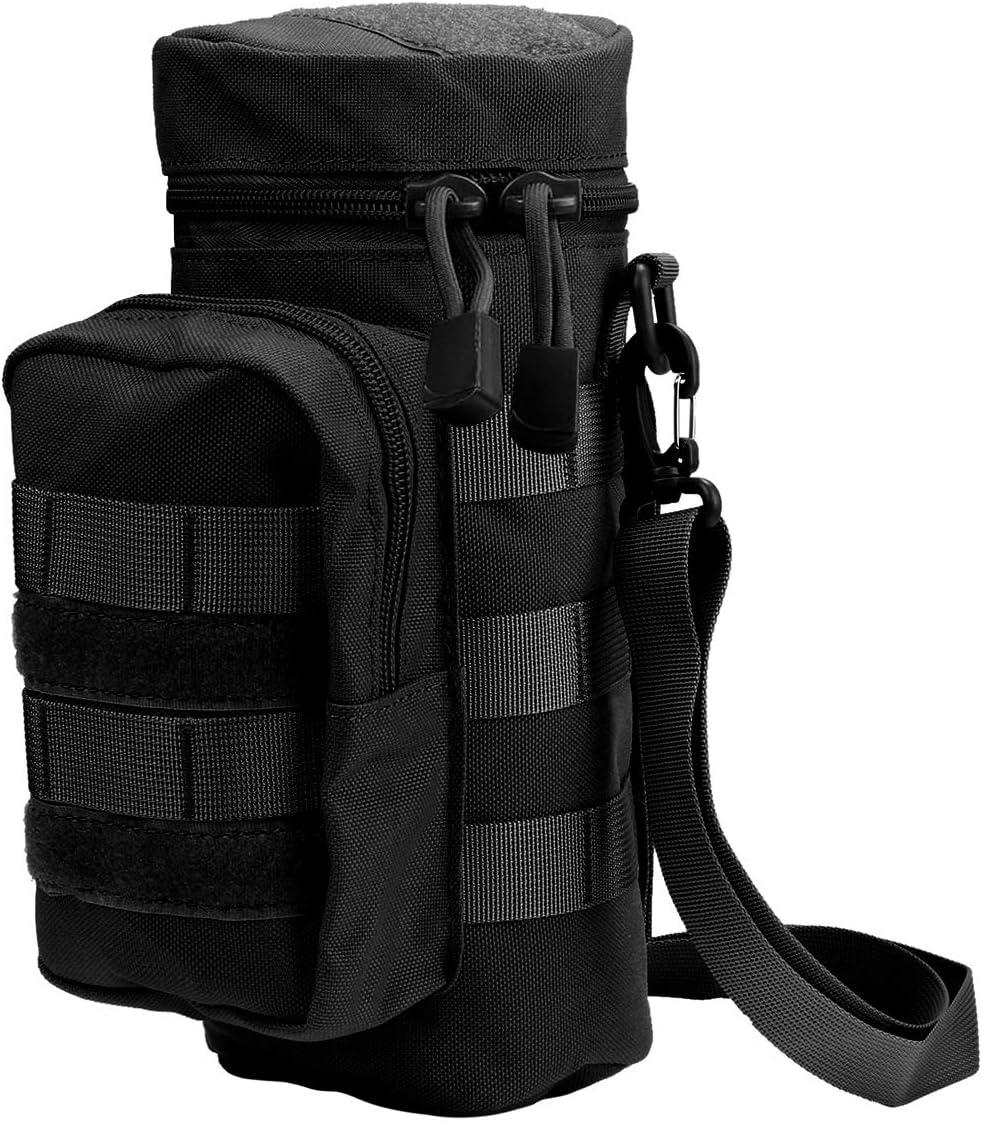 Kyrio Molle Soporte para botella de agua Tactical Military Kettle Canteen Bag Pack Bolso bandolera con bolsa de accesorios adicional y correa de hombro desmontable Negro 750ml