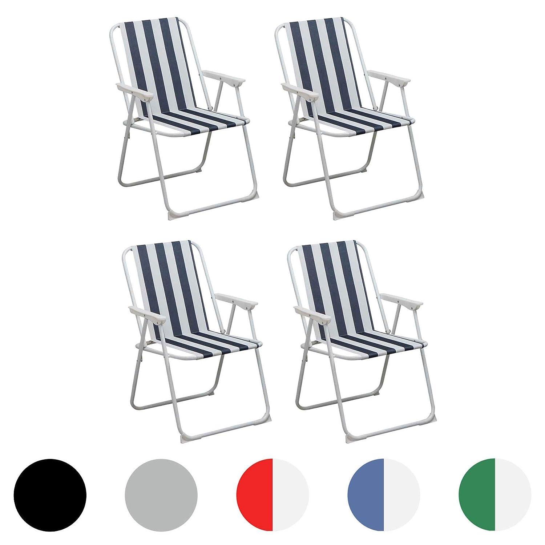 Harbour Housewares Folding Metal Beach Garden Camping Armchair Pack of 4 Grey