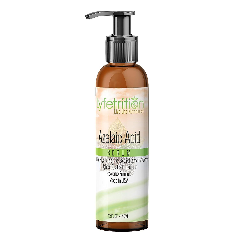 Lyfetrition Azelaic Acid Serum – 12oz - 360ml - Large Bottle - 100% Natural Face Serum with Vitamin C, Hyaluronic Acid, Aloe Vera & Many More - Skin Lightening Serum Blemishes, Acne Marks Pigmentation