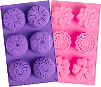 6-cavity Beautiful Flower Cake Mold Flexible Silicone Choclate Mold Soap Mold Soap Candle Candy